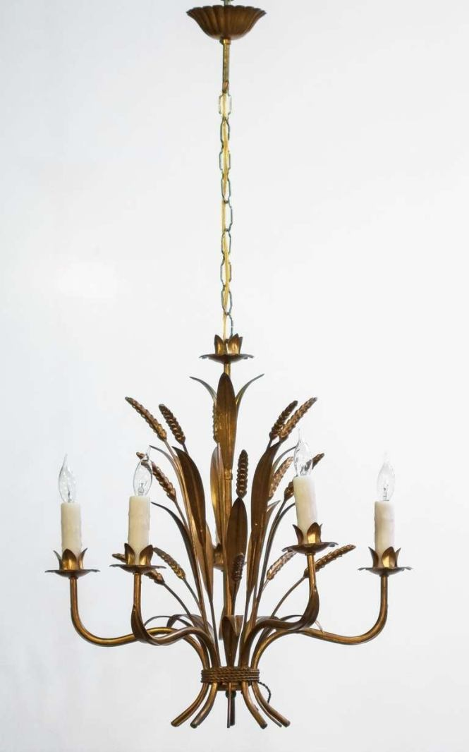 French Wheat Sheaf Five Light Hanging Fixture 3