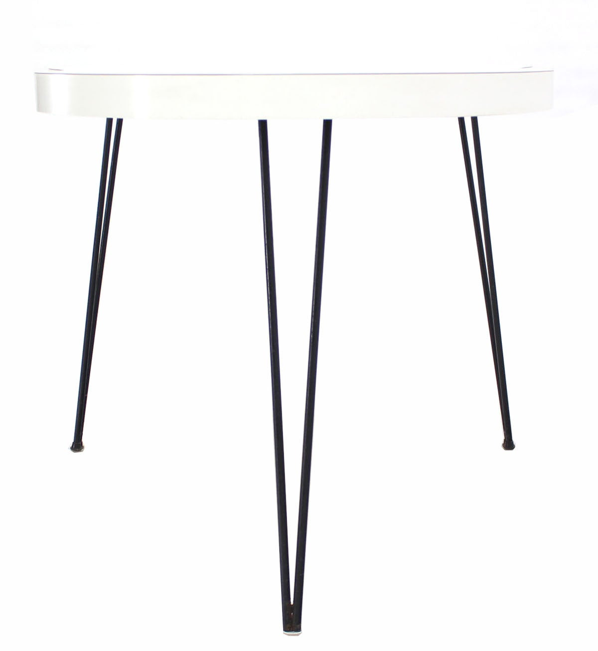 Organic Guitar Shape Dining Table On Three Hairpin Legs At