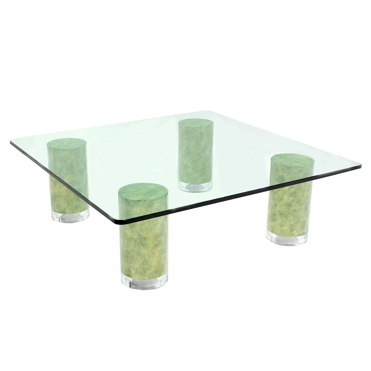 huge square glass top coffee table on thick cylinder faux finish legs