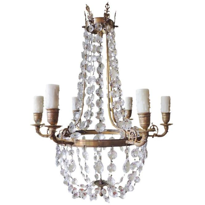 Late 18th C English Regency Crystal And Brass Chandelier 1
