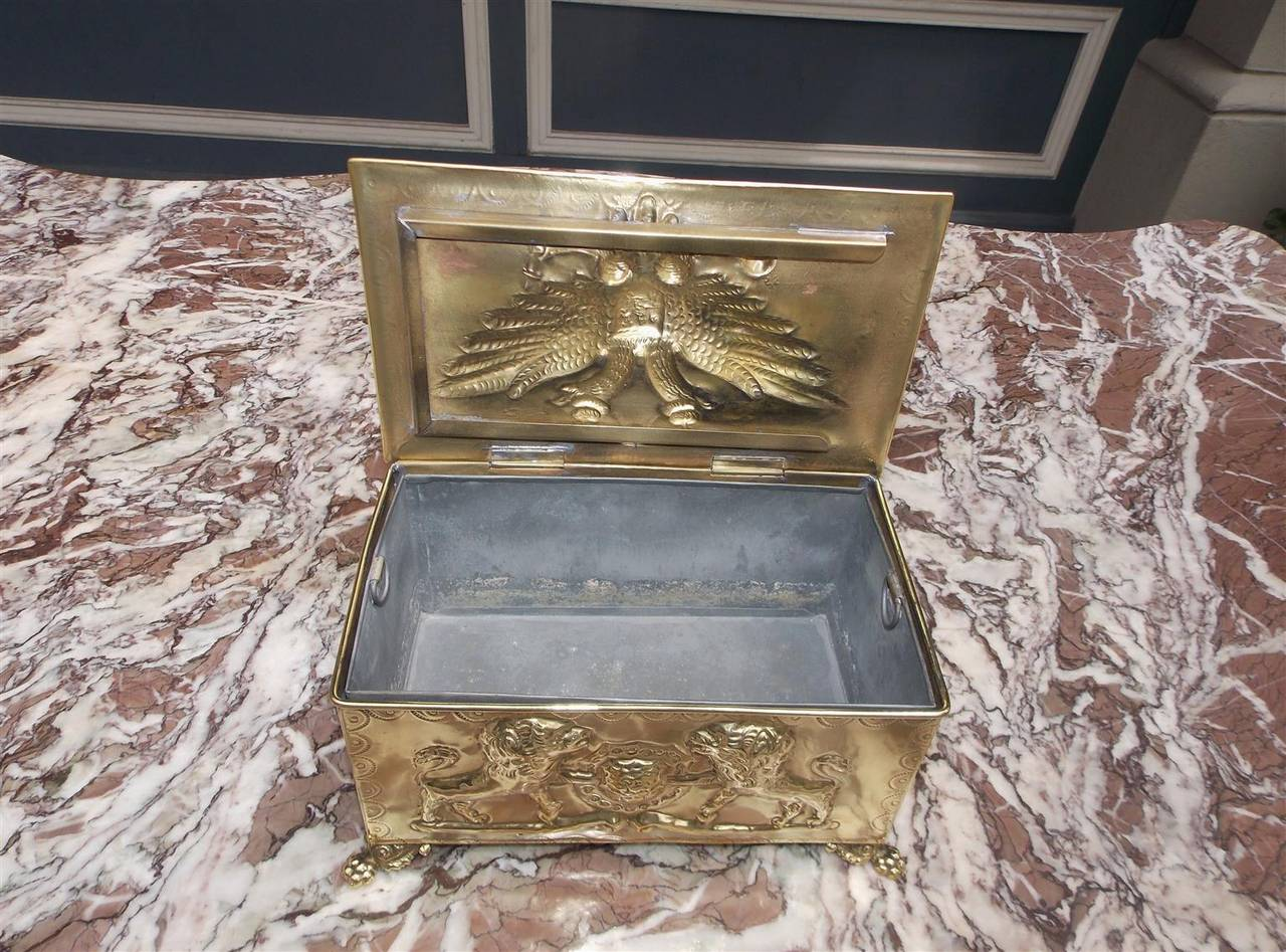 Russian Eagle Embossed Brass Box With Tin Liner, Circa