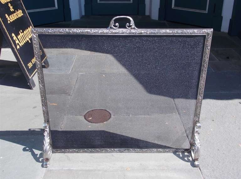 French Polished Steel Free Standing Fire Screen. Circa