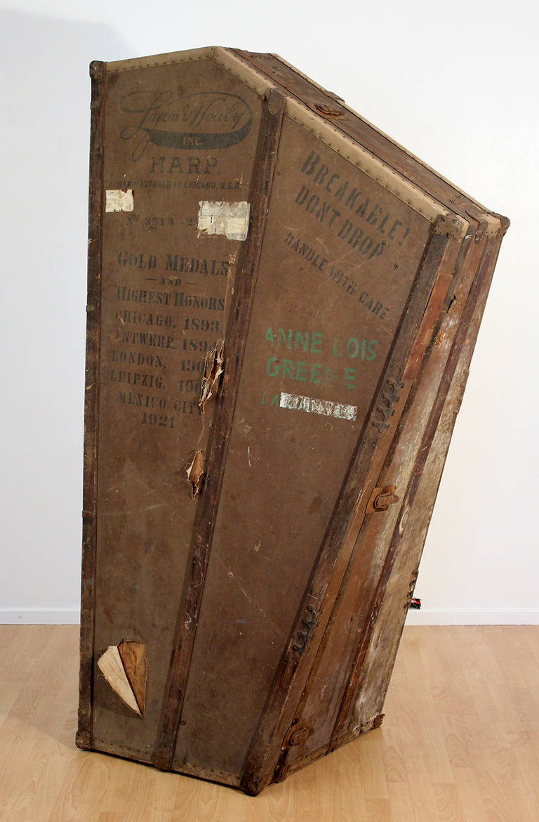 Antique Harp Case Or Trunk By Lyon And Healy Chicago At