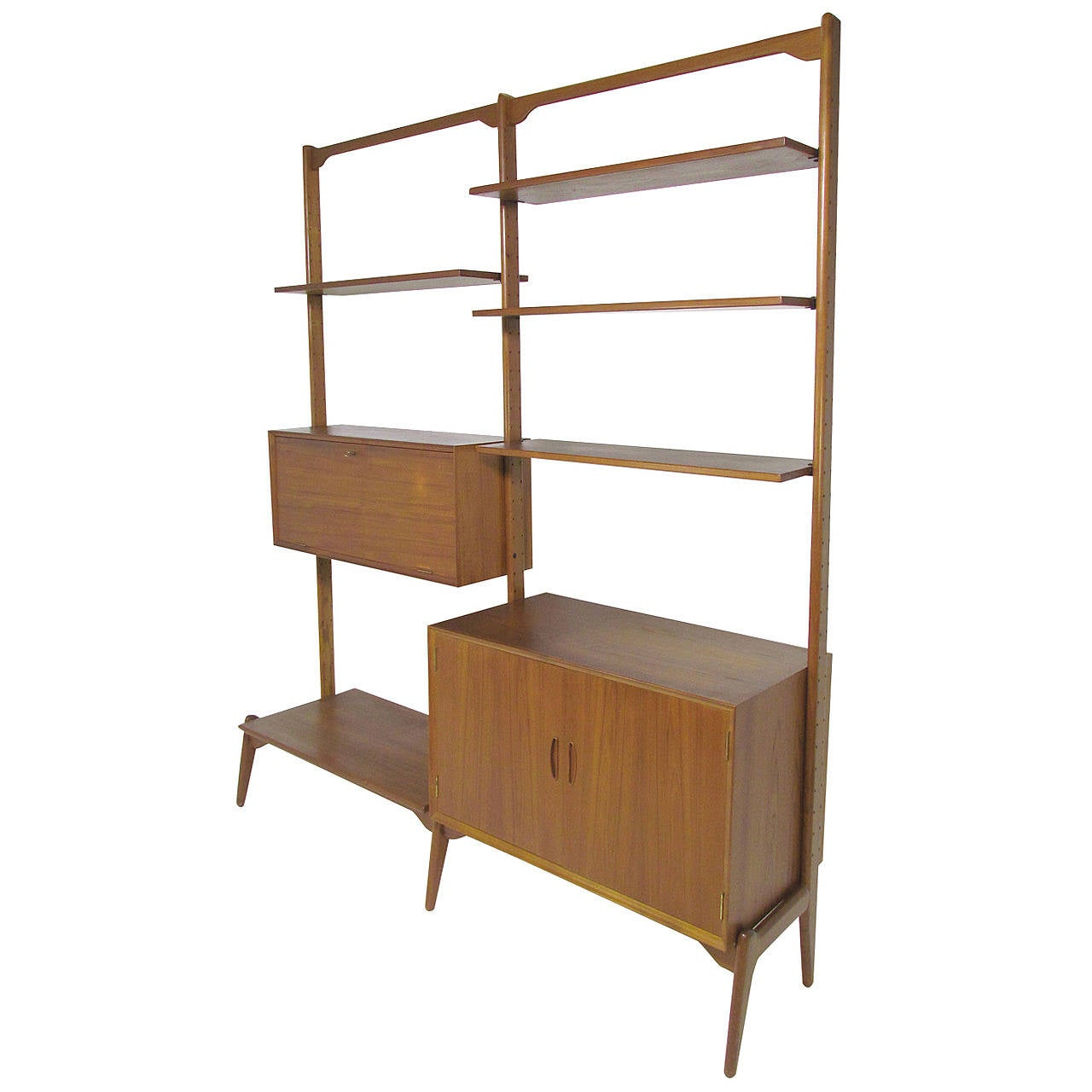 Cado Style Danish Teak Freestanding Wall Unit By Kurt