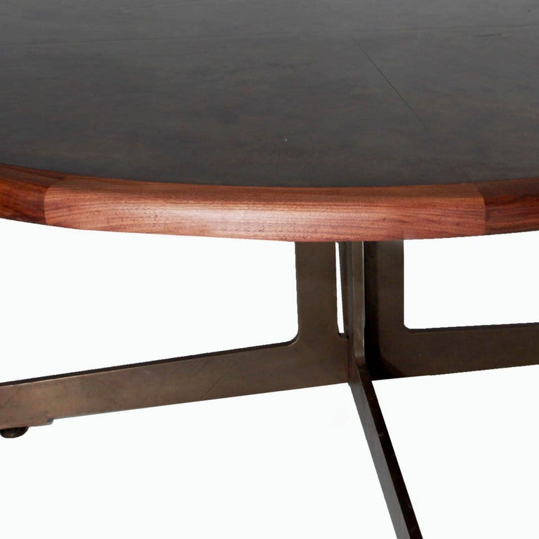 Massive Harry Lunstead Copper And Walnut Dining Table With Bronze Base For Sale At 1stdibs
