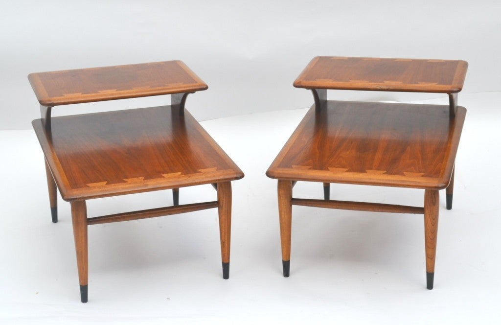 A Pair Of Mid-Century Two-tiered Walnut End Tables By Lane