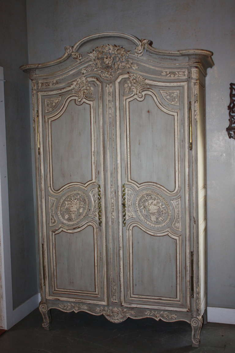 19th Century French Painted Armoire At 1stdibs