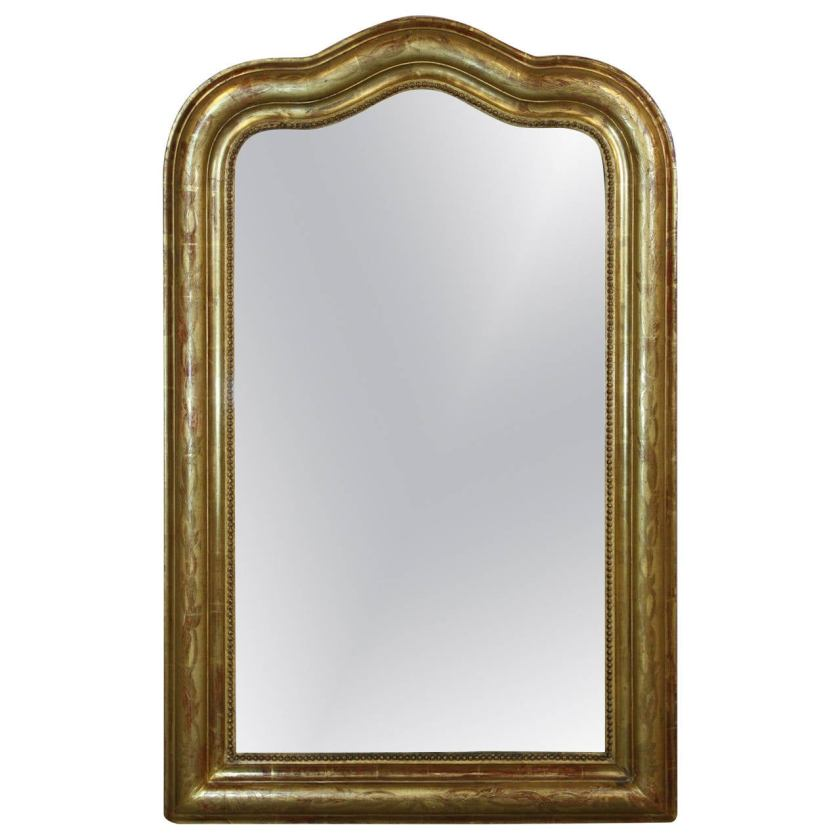 19th Century Gold Gilded Louis Philippe Mirror with Serpentine Top