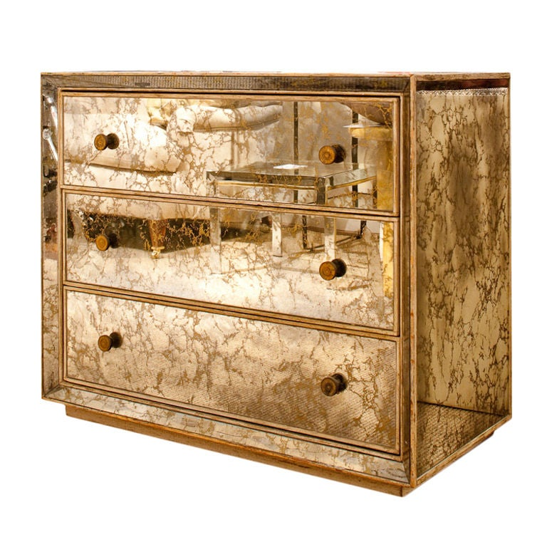 1940s Marbled Mirror Chest Of Drawers With Brass Drawer