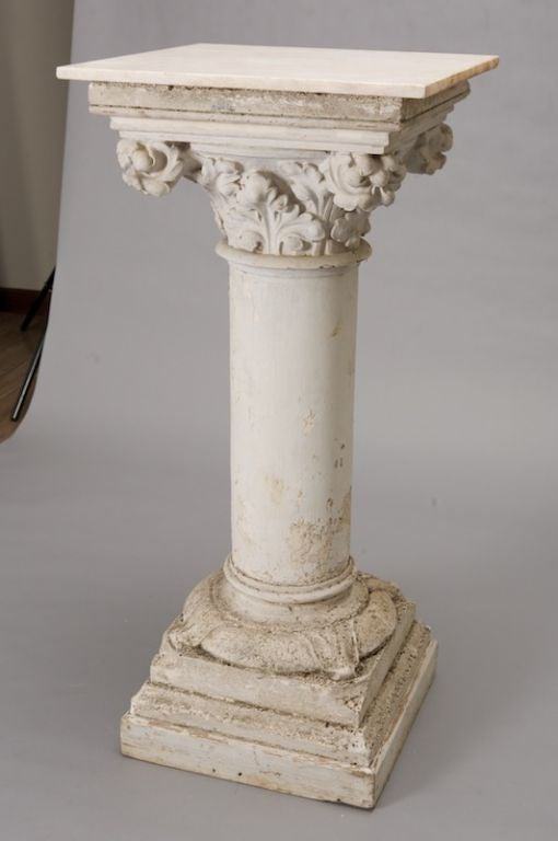 French Marble Topped Plaster Column At 1stdibs