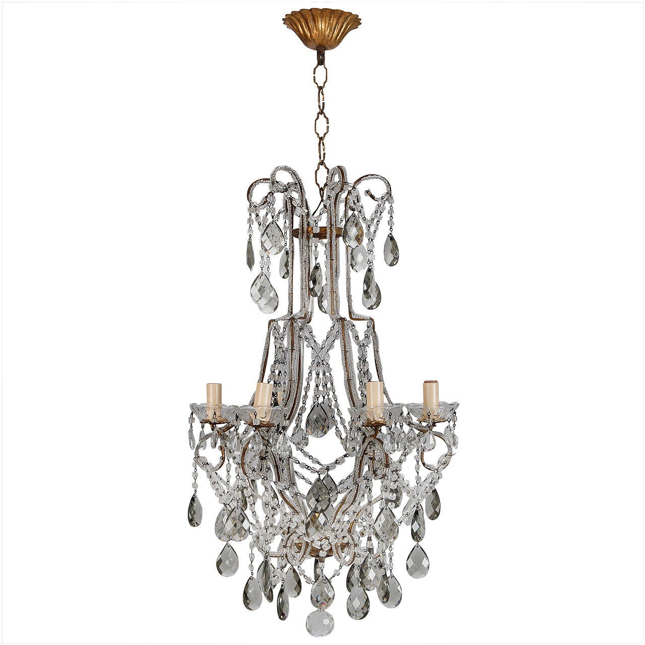 French Six Light All Crystal Beaded Chandelier With Smoke Color Drops For Sale At 1stdibs