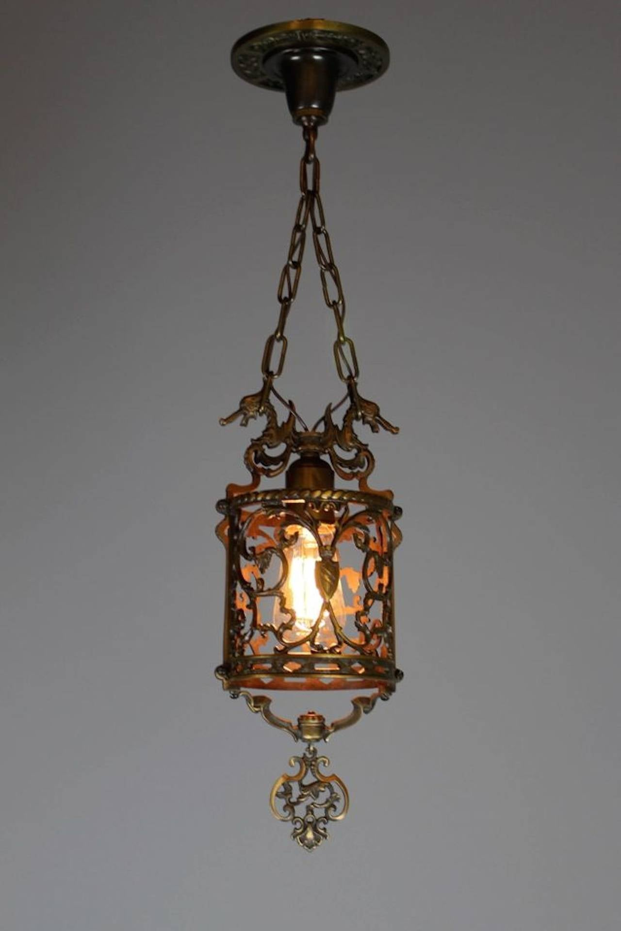 Spanish Style Colonial Revival Bronze Sea Horse Hall Lantern At 1stdibs