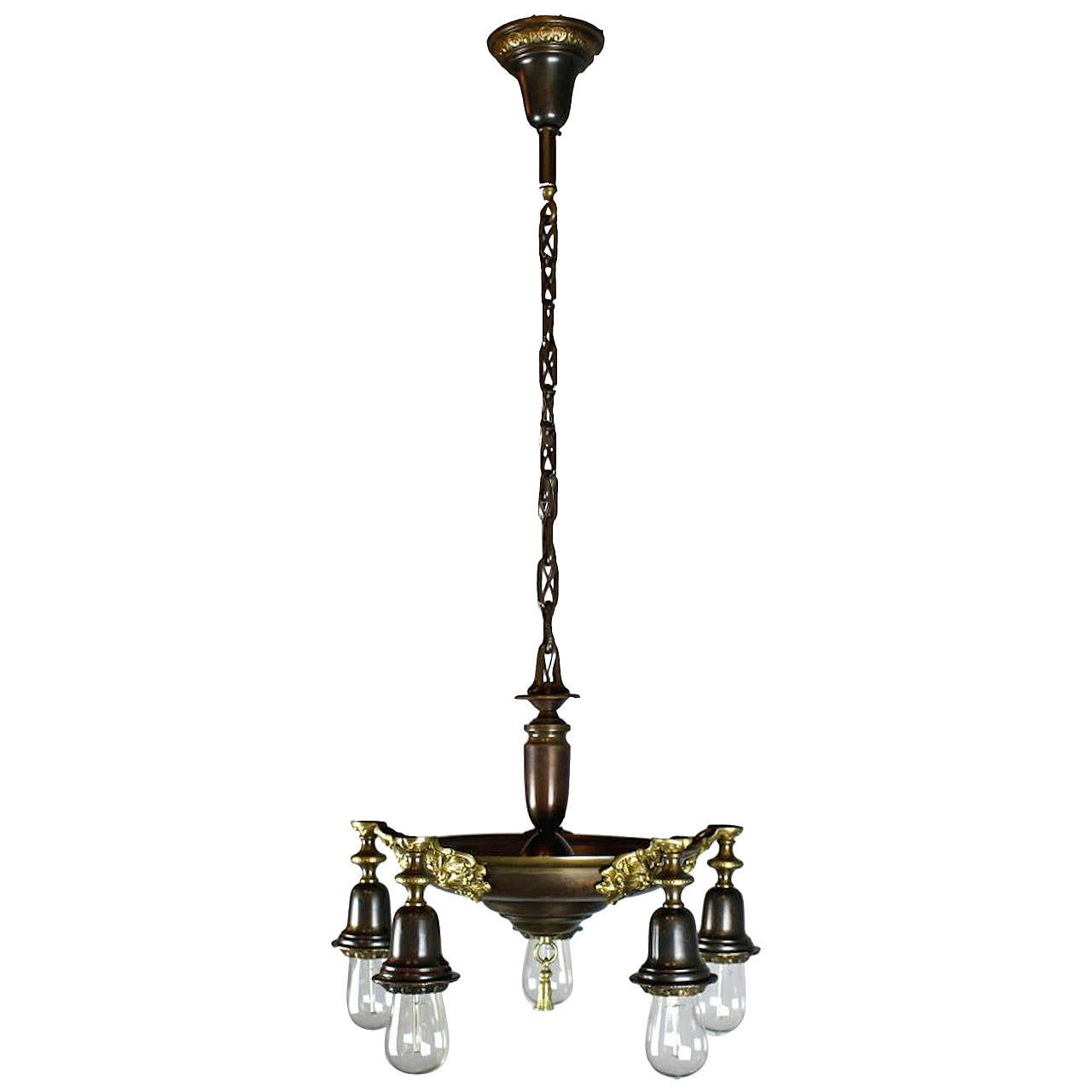 Two Tone Edwardian Five Light Pan Fixture With Bare Bulbs