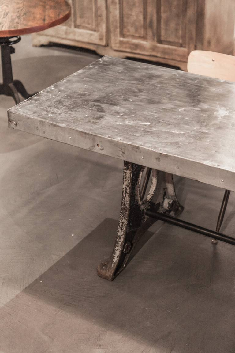 10 Ft Old Zinc Top Table Cast Base At 1stdibs