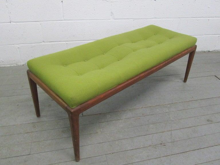Mid Century Modern Robsjohn-Gibbings Style Tufted Bench At