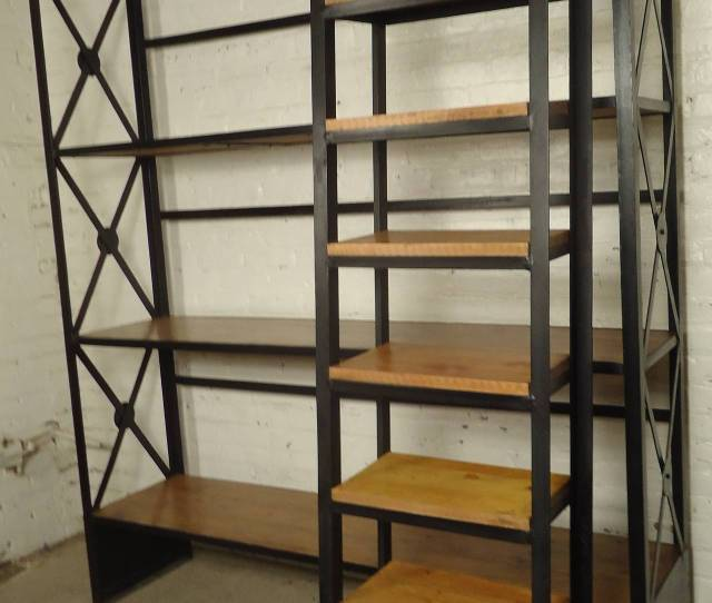 Industrial Shelving Unit Featuring Four Long Wooden Shelves With An Iron Body Eight Step Detachable