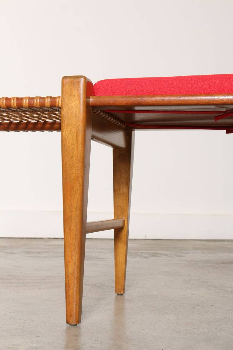 Mid Century Wood And Cane Bench 1950s At 1stdibs