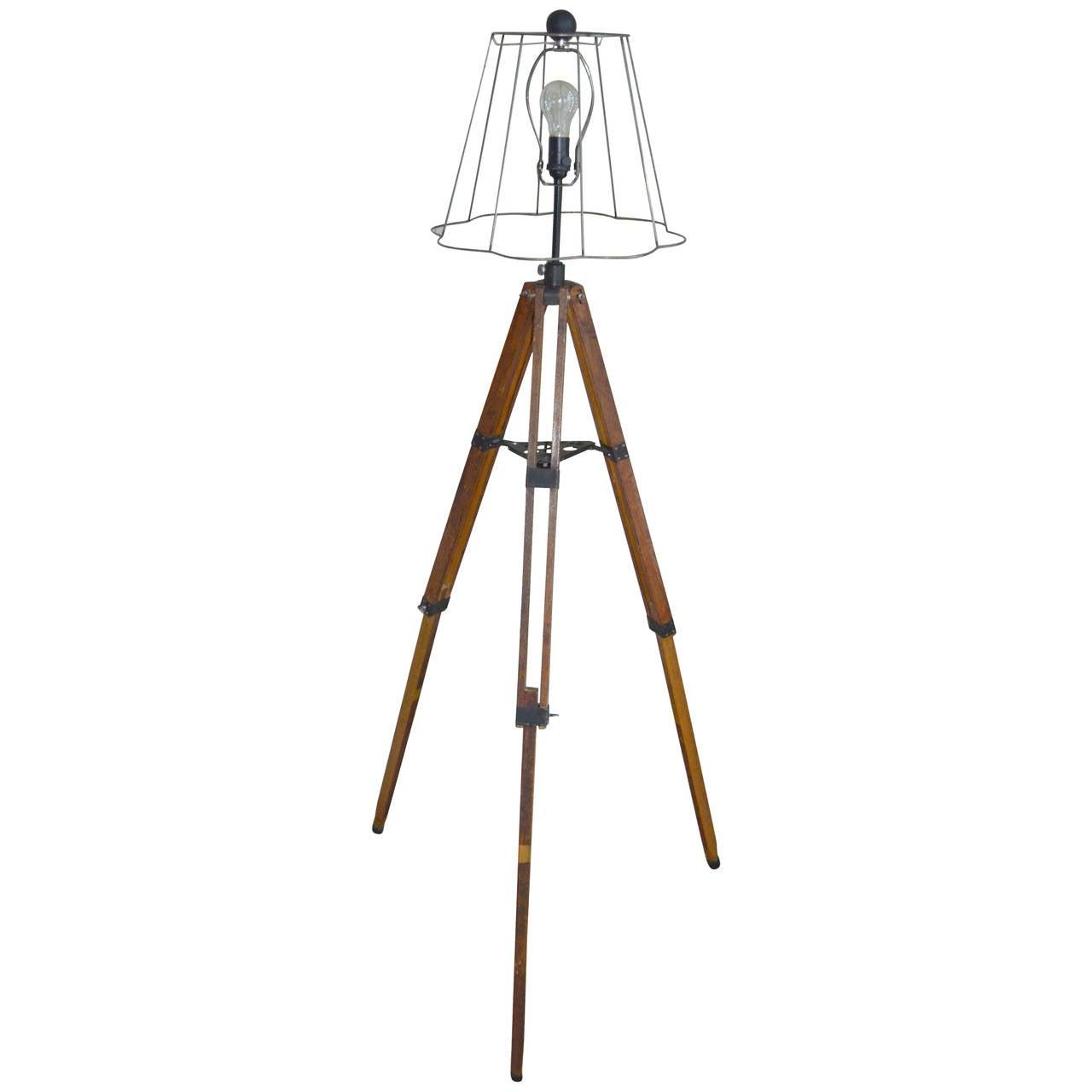 Early 20th Century Telescope Tripod As Floor Lamp At 1stdibs