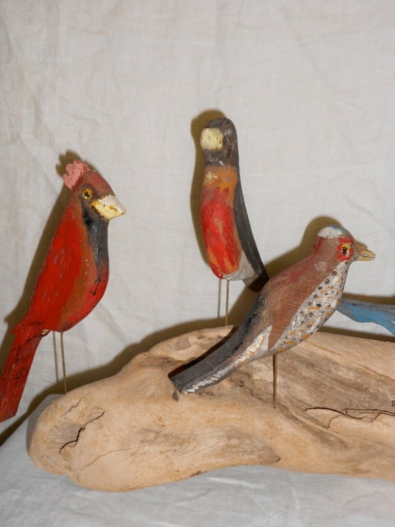 Folk Art Wooden Birds Hand Carved Hand Painted At 1stdibs