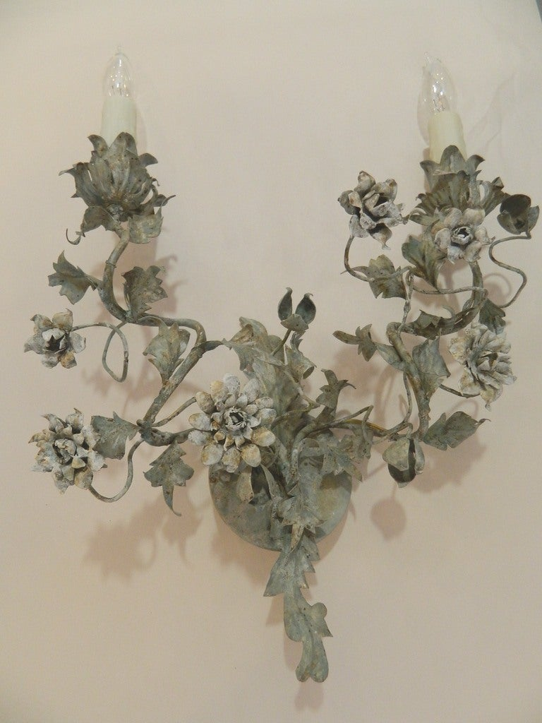 Painted Floral Tole Wall Sconces at 1stdibs on Flower Wall Sconces id=89698