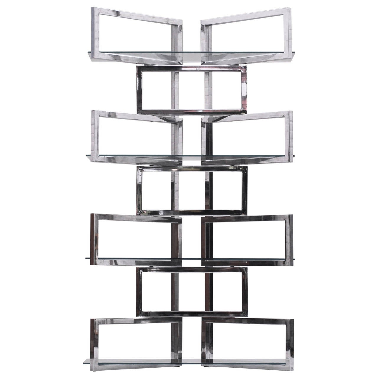 S Large Pair Of Chromed Steel Shelving Units At 1stdibs