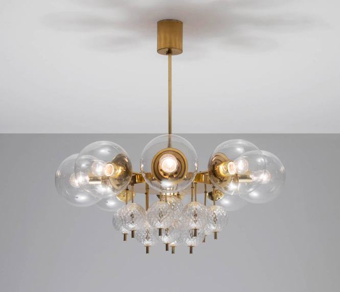 Large Brass Chandelier With Beautiful Glass Bulbs 1960 S These Lights Were Found In The