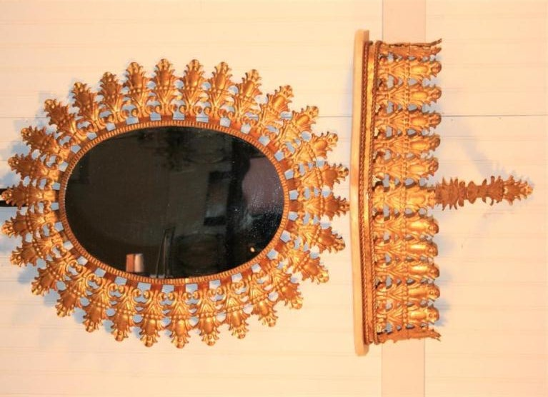Italian Hollywood Regemcy Gold Gilt Metal Sunburst Wall