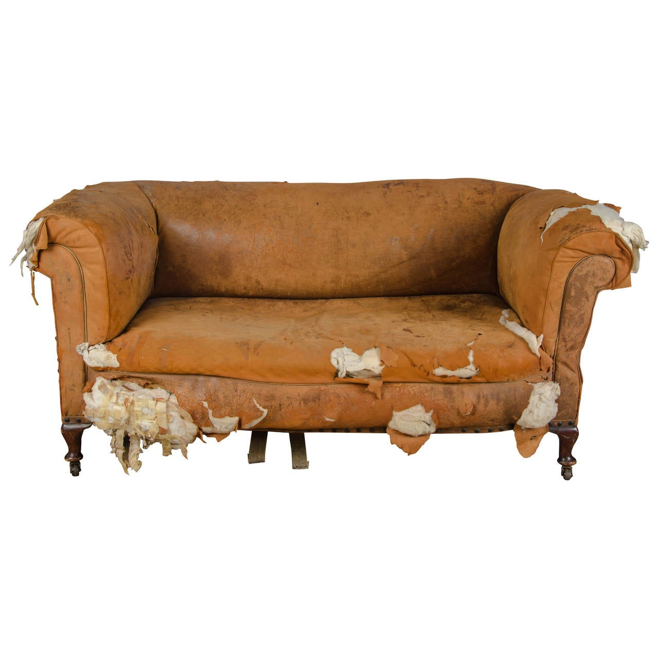 Antique Distressed Victorian Drop End Leather Sofa At 1stdibs