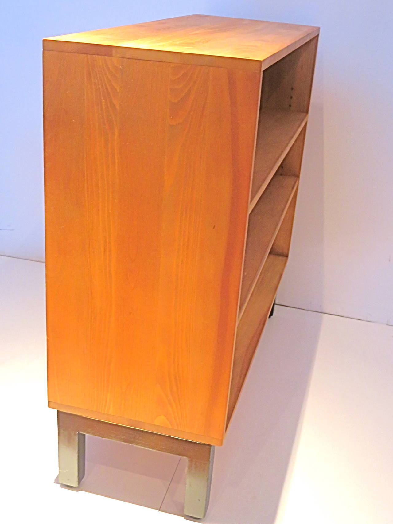 American Modern 1950s Solid Ash Wood Book Caze With Orange