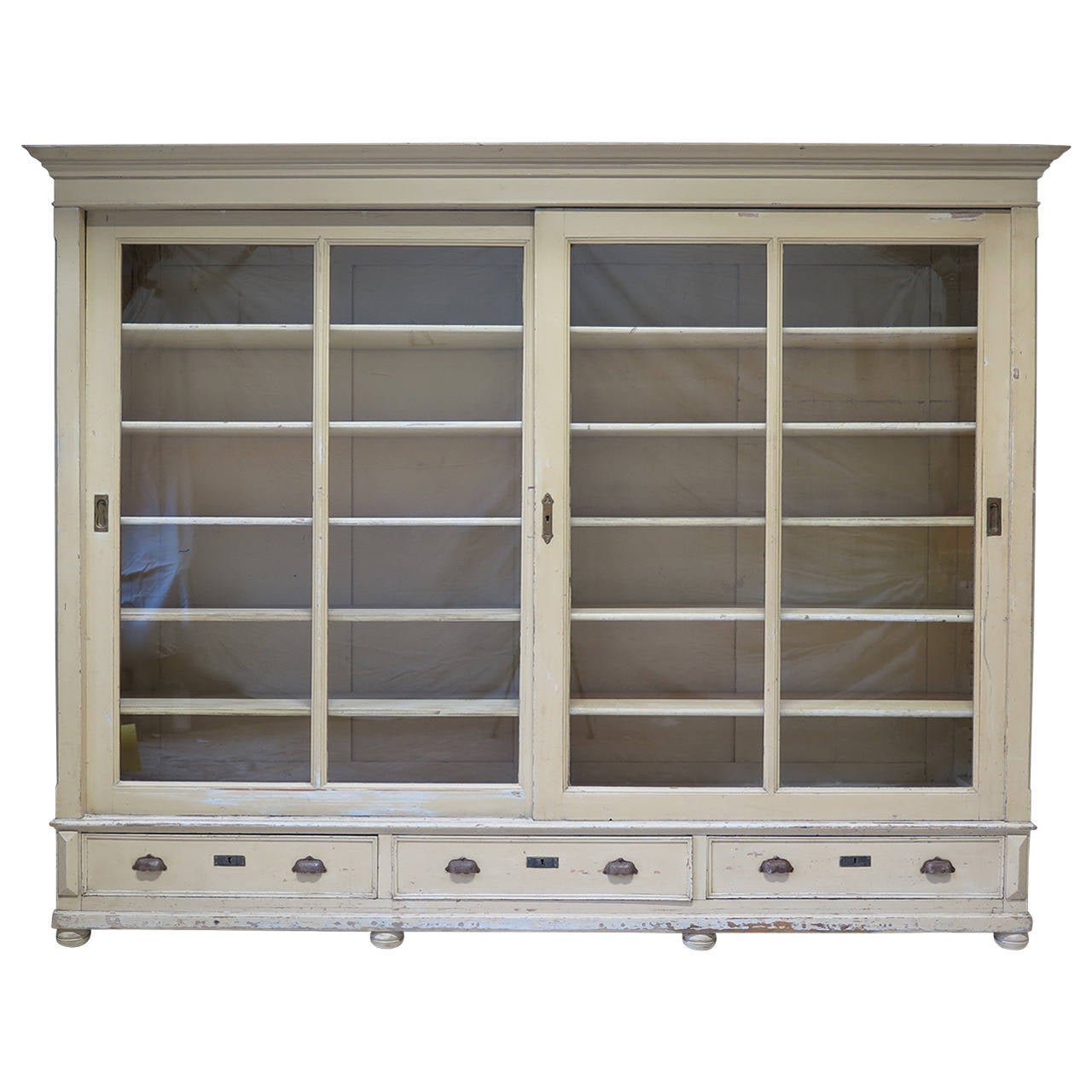 Elegant Bookcase With Sliding Glass Doors France Early