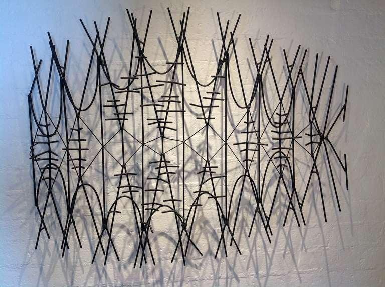 1950s Abstract Black Metal Wall Sculpture At 1stdibs