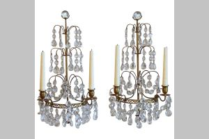 Pair Of Swedish Gustavian Crystal And Bronze Candle Wall Pair Of Swedish Gustavian Crystal And Bronze Candle Wall Sconces For Sale