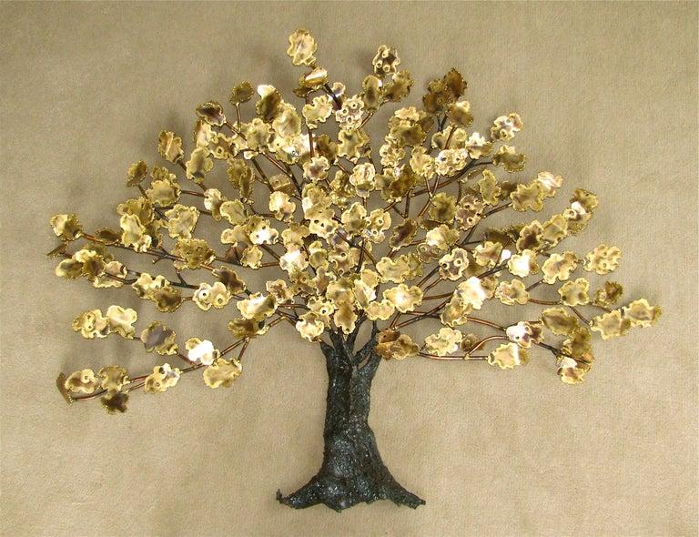 """Huge Modern Brass """"Tree Of Life"""" Wall Art Sculpture Mid"""