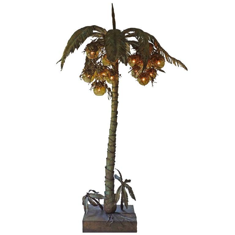 Italian 1970s Gilt Iron Coconut Tree Lamp At 1stdibs