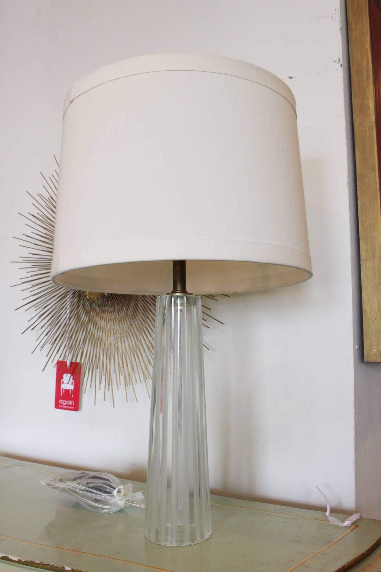 pair of barbara barry crystal lamps