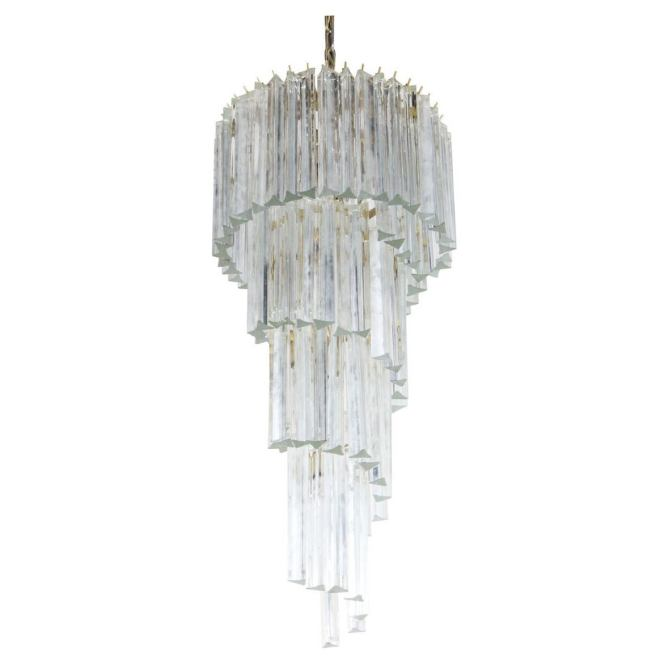 Spiral Venini Crystal Chandelier For