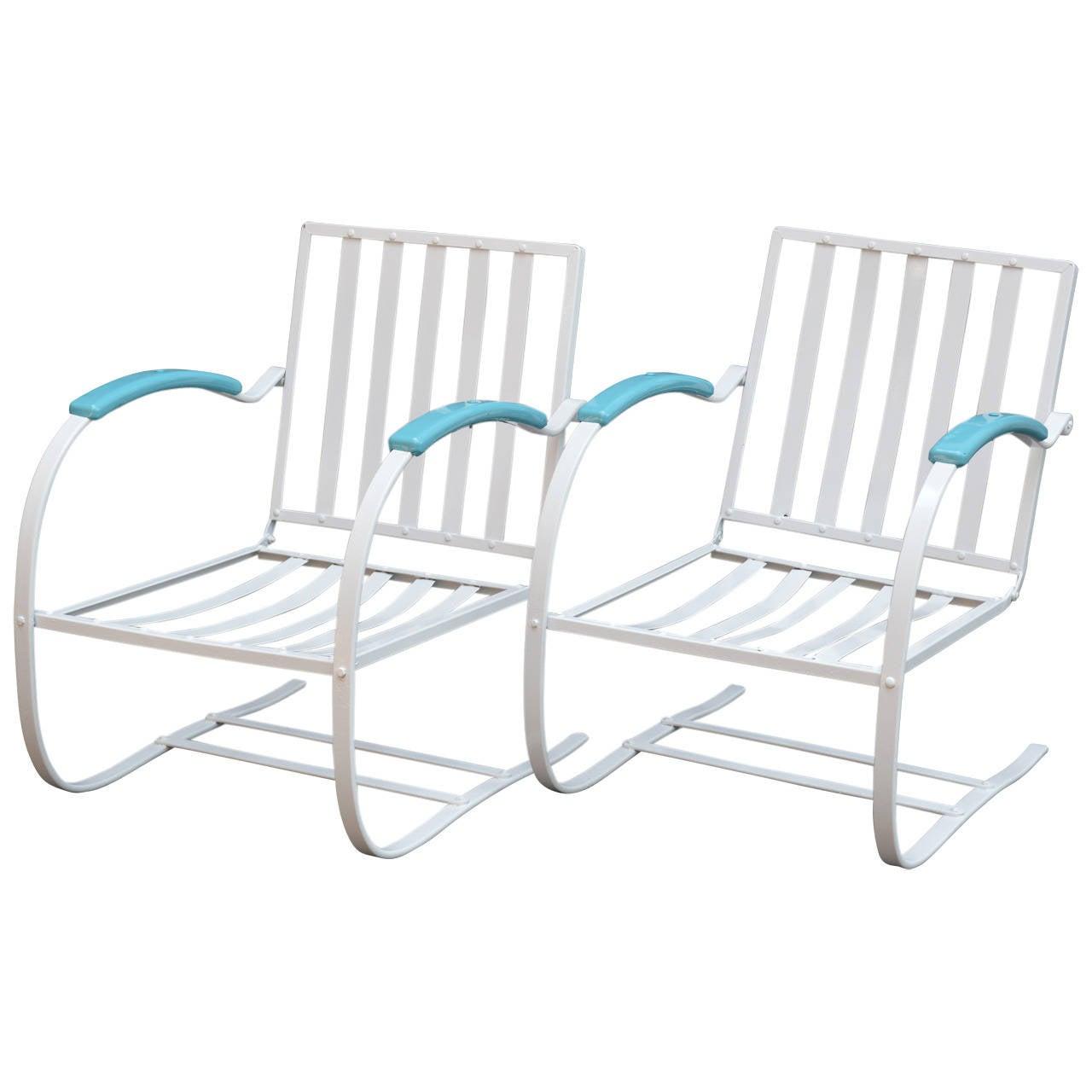Set Of Three Metal Patio Chairs At 1stdibs