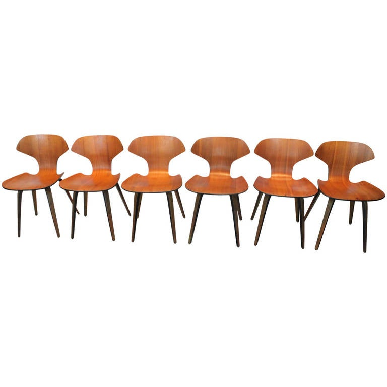 Set Of Six George Mulhauser For Plycraft Bentwood Dining