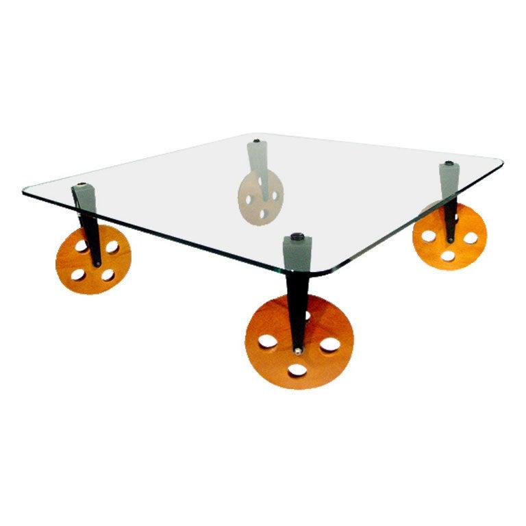 rare gae aulenti glass coffee table on wheels for fontana arte