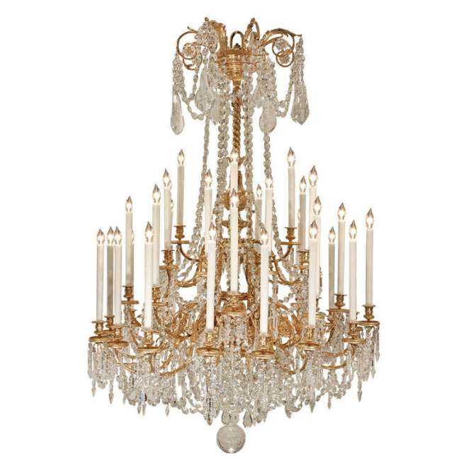 French Mid 19th Century Louis Xvi St Ormolu And Baccarat Crystal Chandelier For