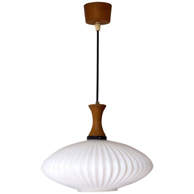 Mid Century Danish Glass And Wood Chandelier Or Pendant Light 1
