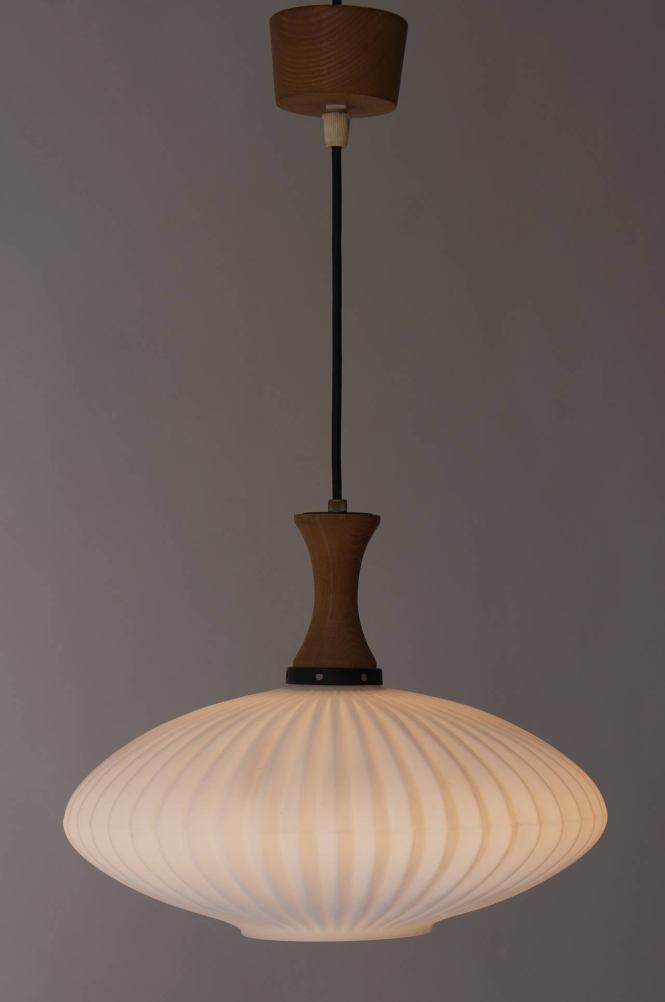 Mid Century Danish Glass And Wood Chandelier Or Pendant Light 2