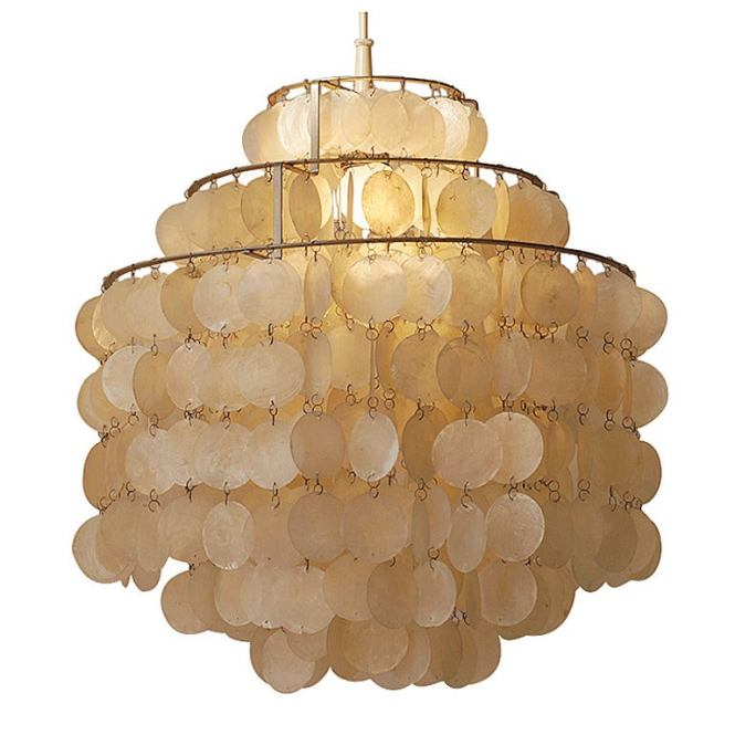 Two Original Capiz Shell Chandeliers By Verner Panton For