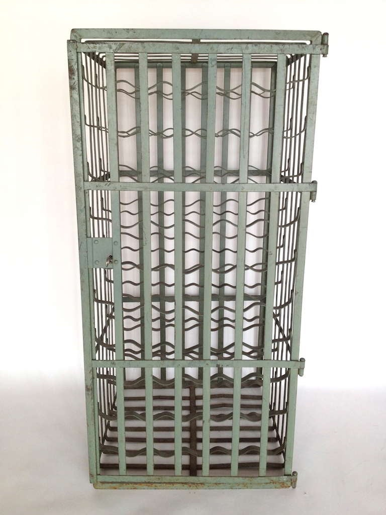 Pair Of Vintage French Iron Wine Cages With Keys At 1stdibs