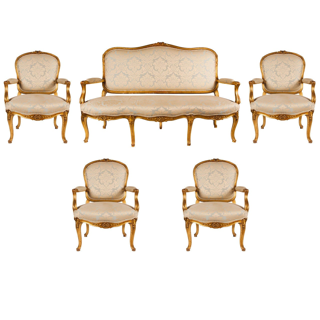 Fine Louis XV Style Giltwood Five Piece Salon Suite At 1stdibs