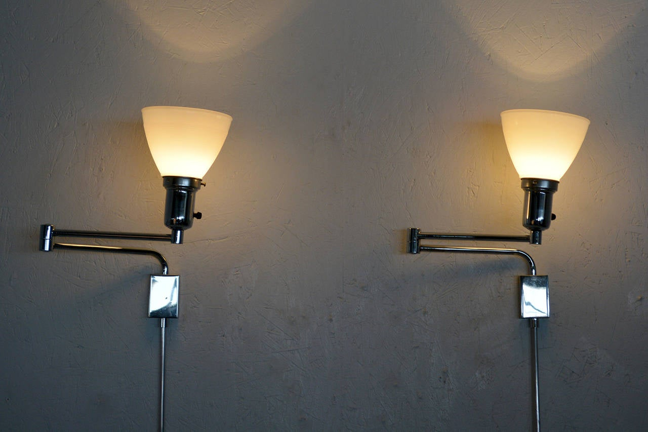 Pair of Mid Century Modern Chrome-Plated Wall Sconces For ... on Mid Century Modern Sconces id=15057
