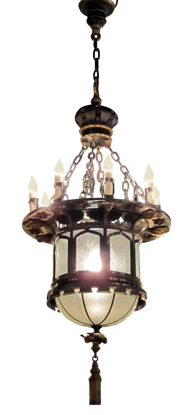 1920s French Gothic Tudor Pendant Light With Slumped Glass Made