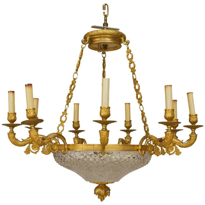French Empire Style Gilt Bronze And Crystal Chandelier 1