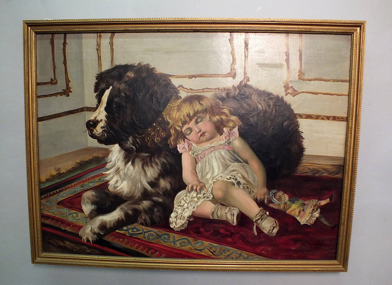 Oil Painting Of A Young Girl Sleeping On A Dog For Sale At