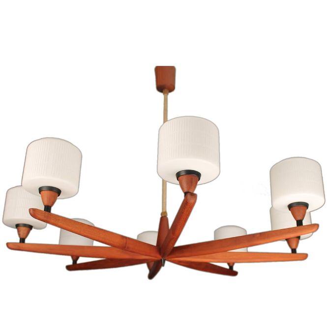 Danish Modern Luxus Teak Chandelier Modernist Glass Ceiling Lamp 60s 50s 1